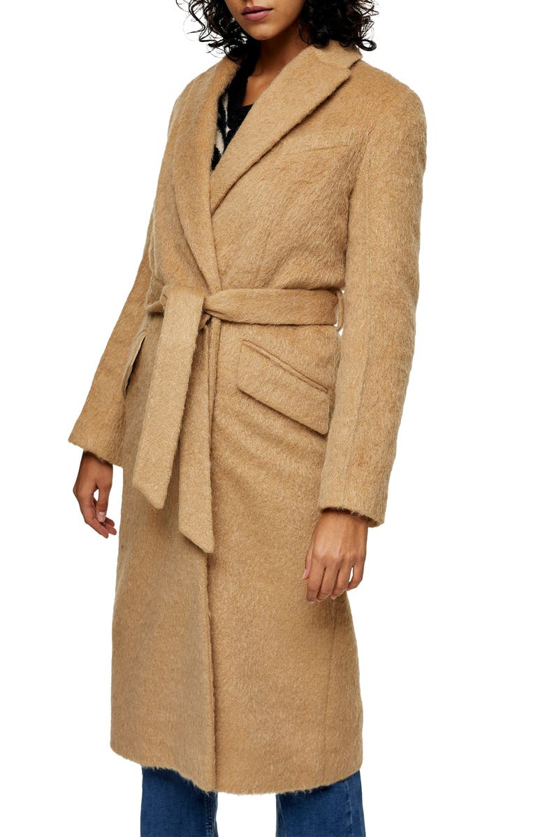 TOPSHOP Manhattan Belted Coat, Main, color, CAMEL