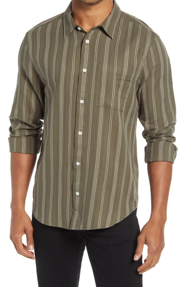 MADEWELL Perfect Textured Cotton Button-Up Shirt, Main, color, CAPERS STRIPE