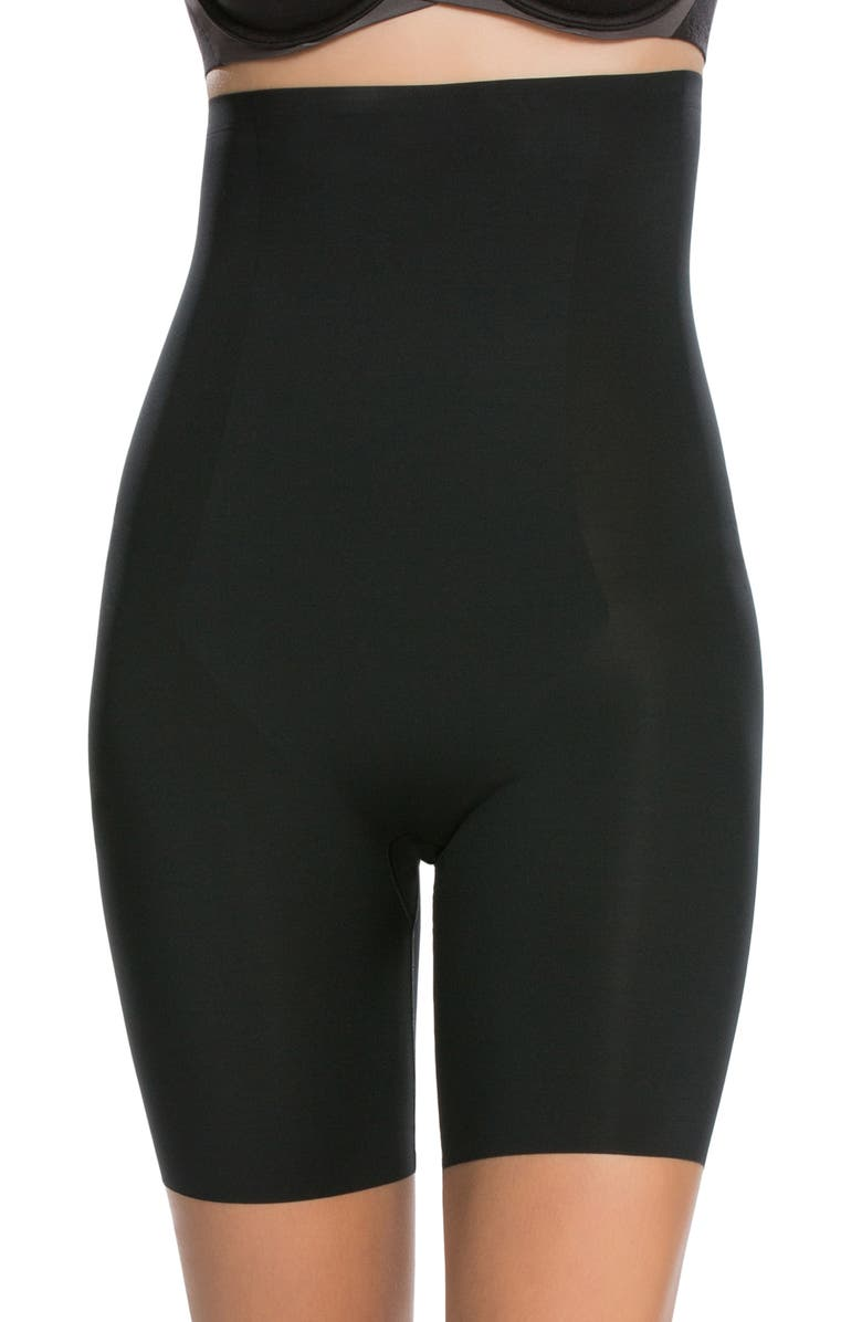 SPANX<SUP>®</SUP> Thinstincts<sup>®</sup> High Waist Mid Thigh Shaper Shorts, Main, color, VERY BLACK