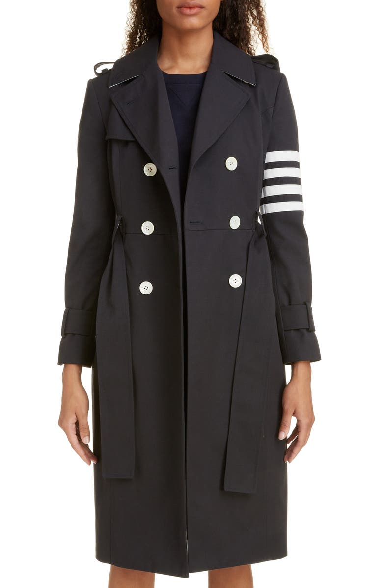 THOM BROWNE Stripe Sleeve Waterproof Trench Coat, Main, color, 400