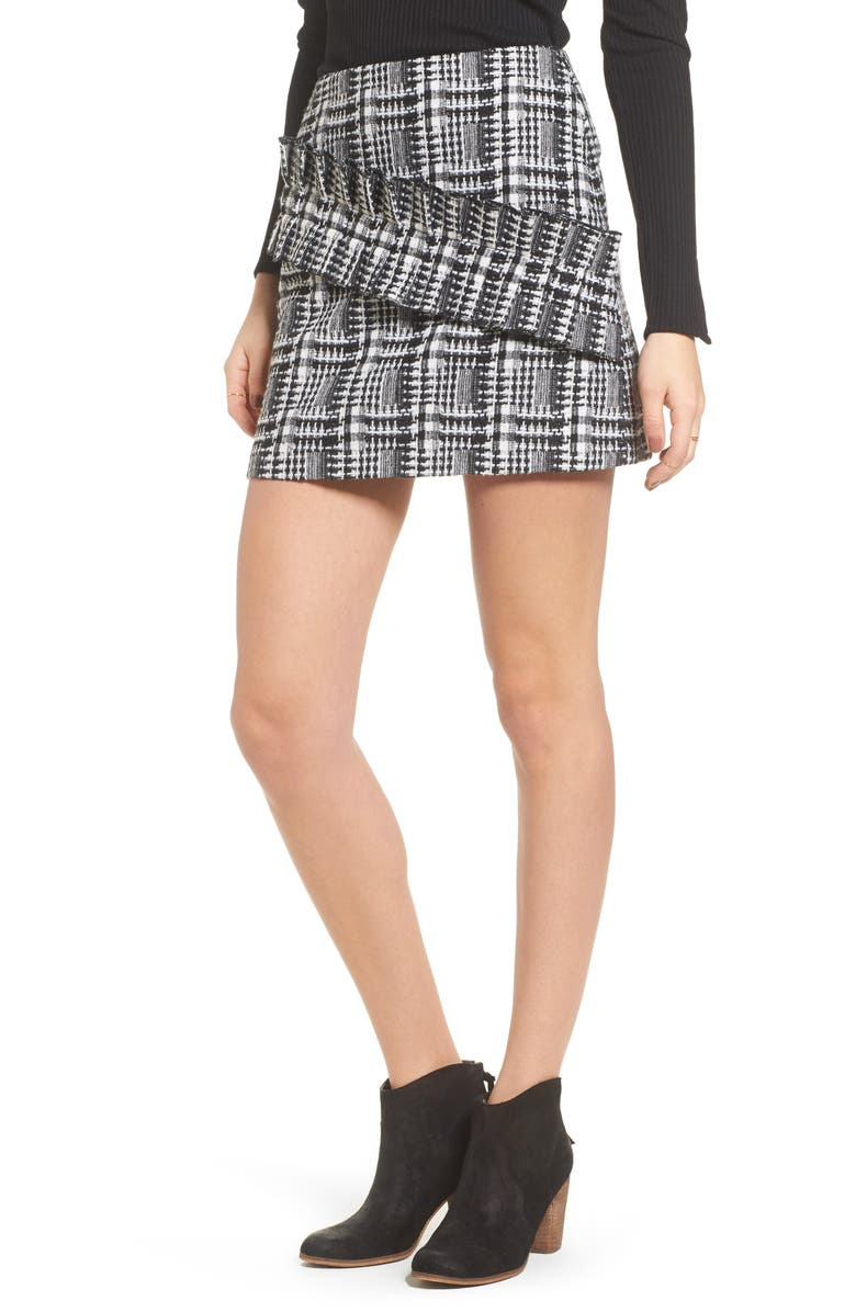 MOON RIVER Ruffle Tweed Skirt, Main, color, 002