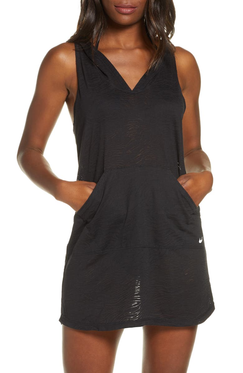 NIKE Essential Hooded Cover-Up Dress, Main, color, 001