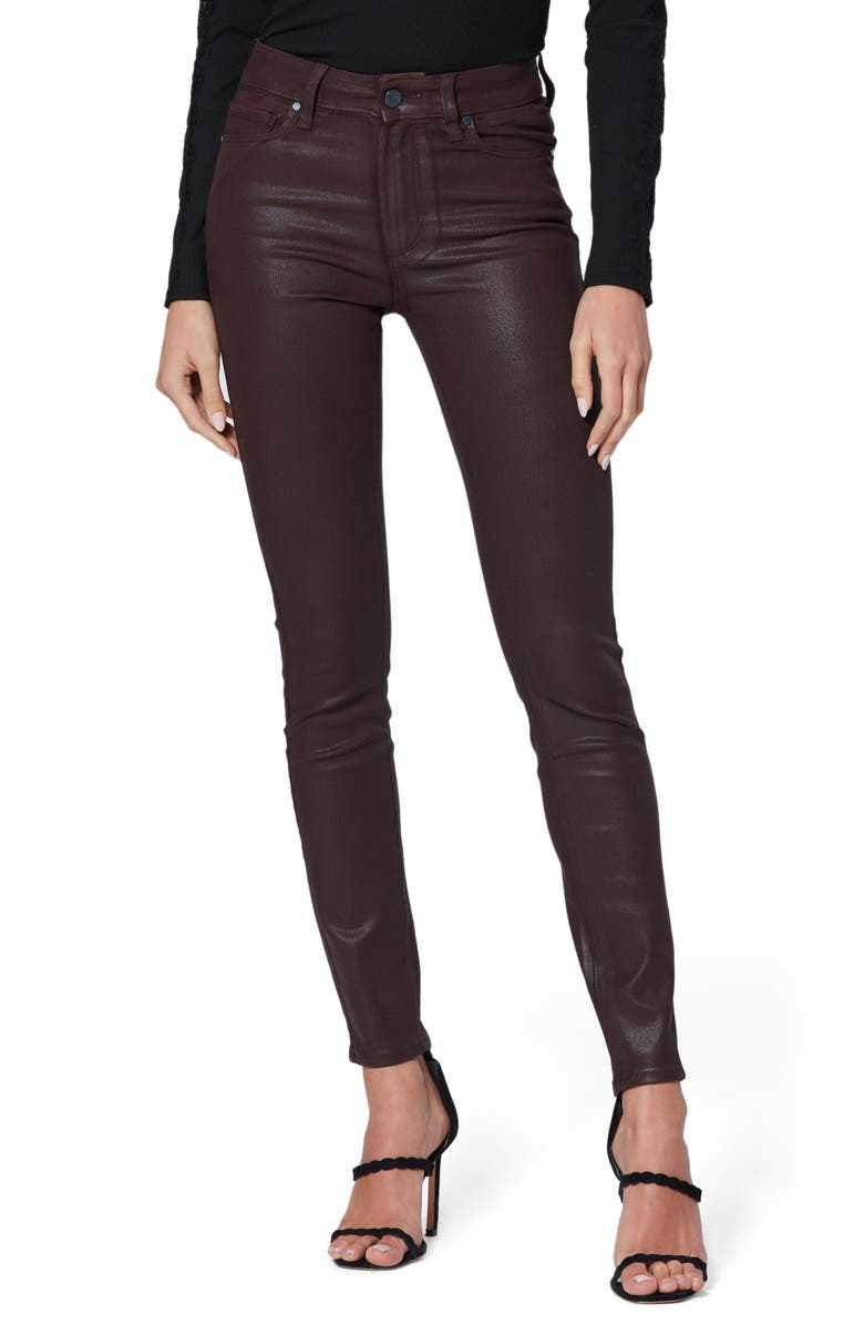 PAIGE Transcend Hoxton High Waist Coated Ankle Skinny Jeans, Main, color, 200