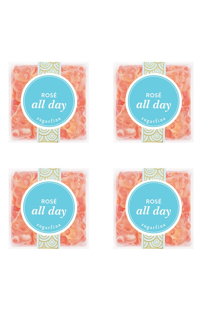 SUGARFINA Rosé All Day Bear Set of 4 Candy Cubes, Main, color, Blue