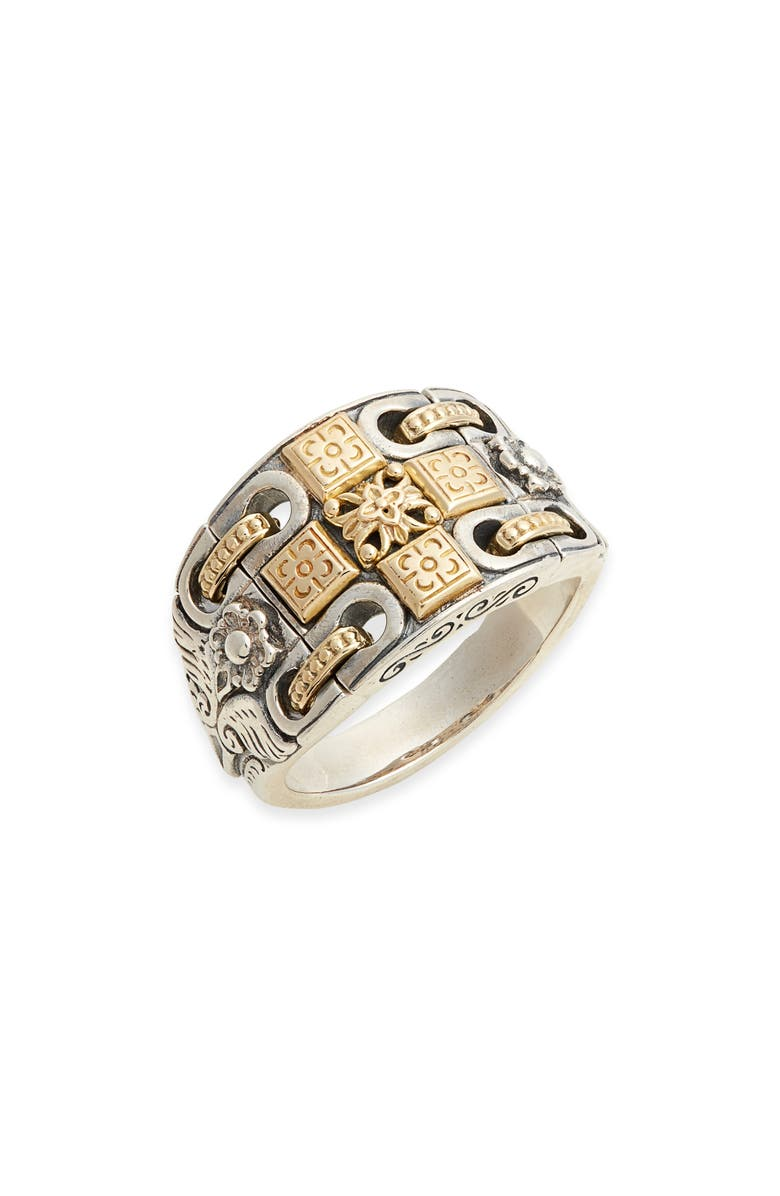 KONSTANTINO Kleos Wide Engraved Ring, Main, color, SILVER/ GOLD