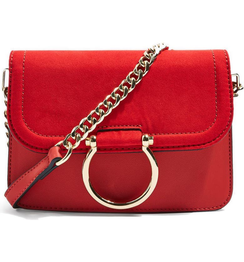 TOPSHOP Remy Trophy Faux Leather Crossbody Bag, Main, color, RED