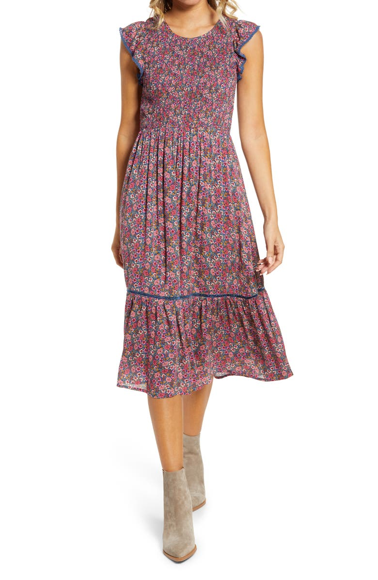 LOST + WANDER Orchid Print Smocked Midi Dress, Main, color, BLUE MULTI