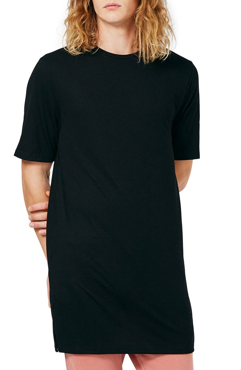 TOPMAN Super Longline Crewneck T-Shirt, Main, color, 001