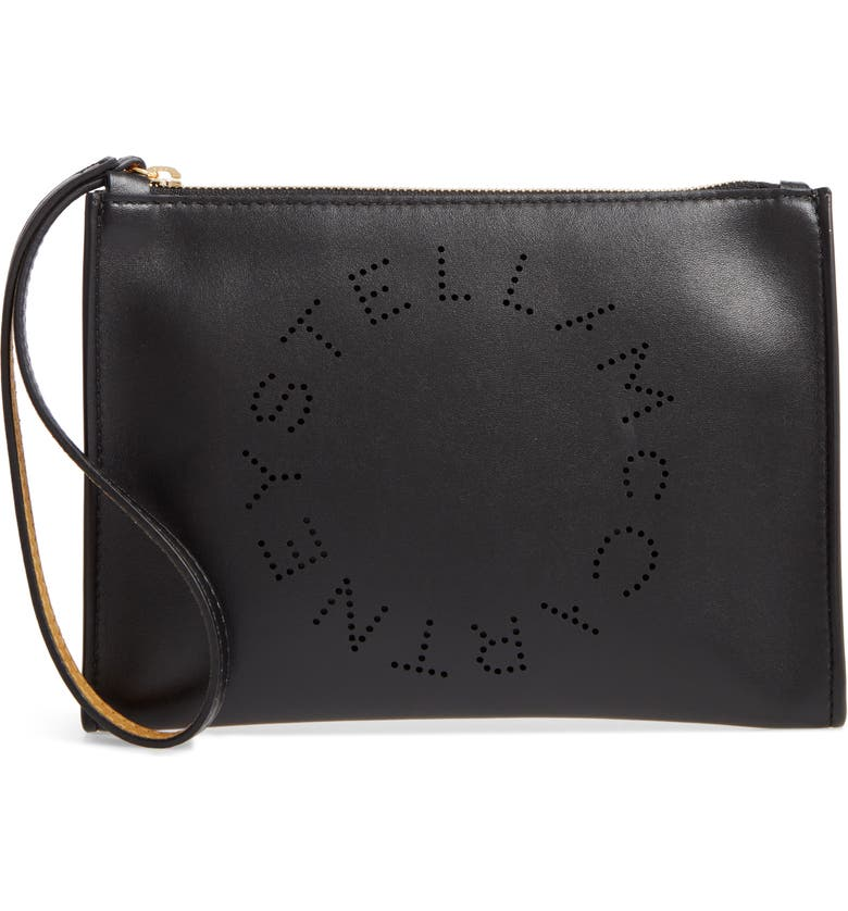 STELLA MCCARTNEY Perforated Logo Alter Nappa Faux Leather Pouch, Main, color, 001