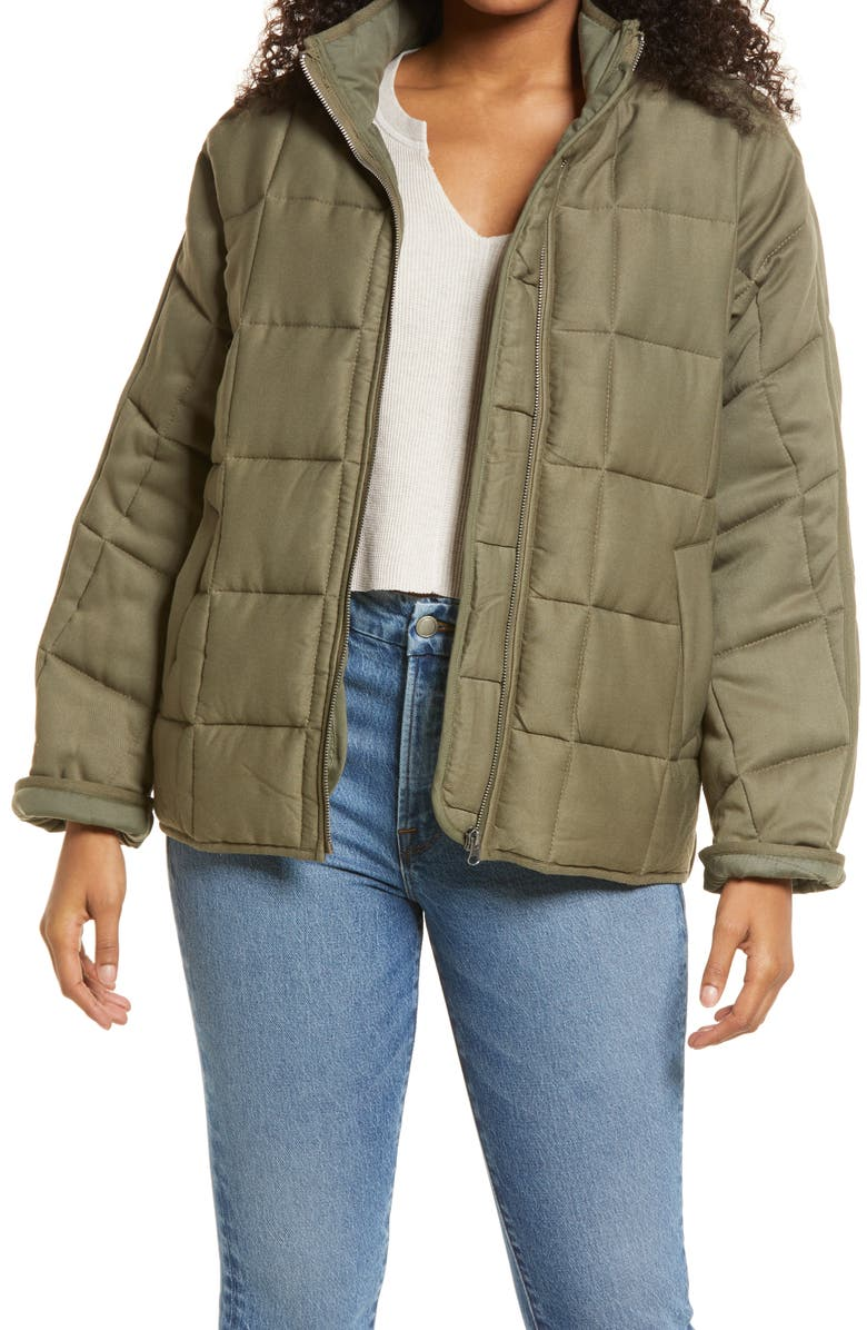 THREAD & SUPPLY Dolman Sleeve Quilted Jacket, Main, color, OLIVE