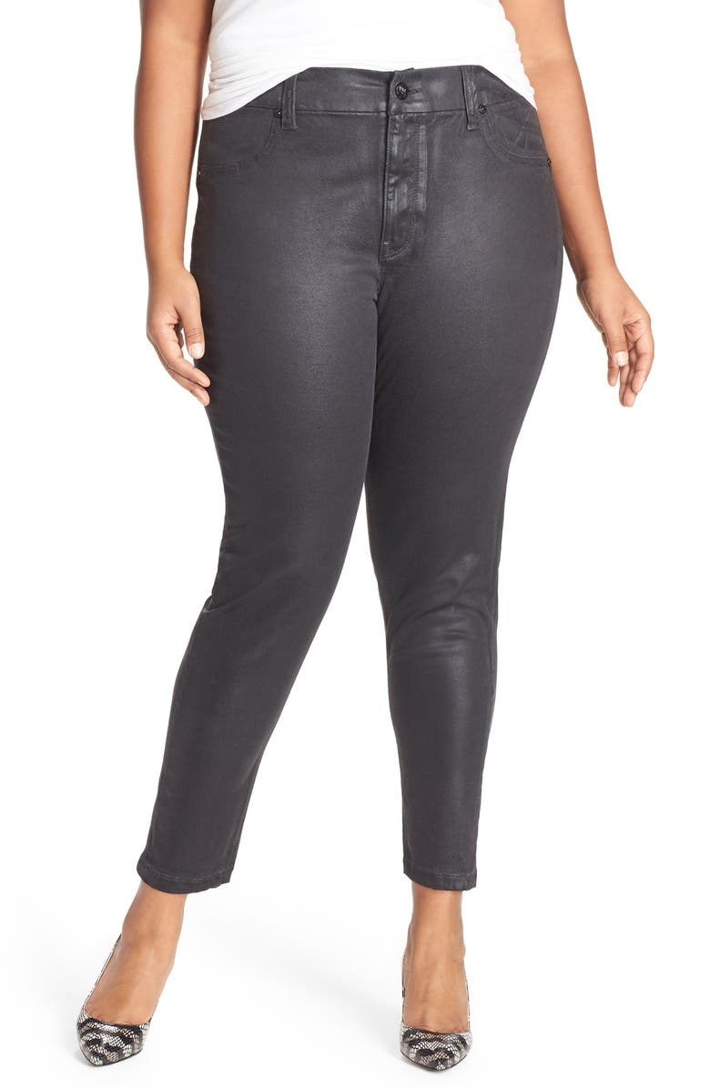 MELISSA MCCARTHY SEVEN7 High Rise Coated Pencil Jeans, Main, color, 001