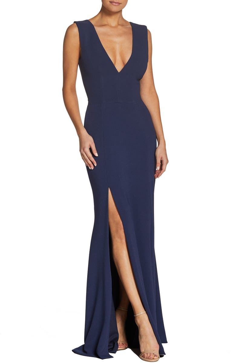 DRESS THE POPULATION Sandra Plunge Crepe Trumpet Gown, Main, color, MIDNIGHT BLUE
