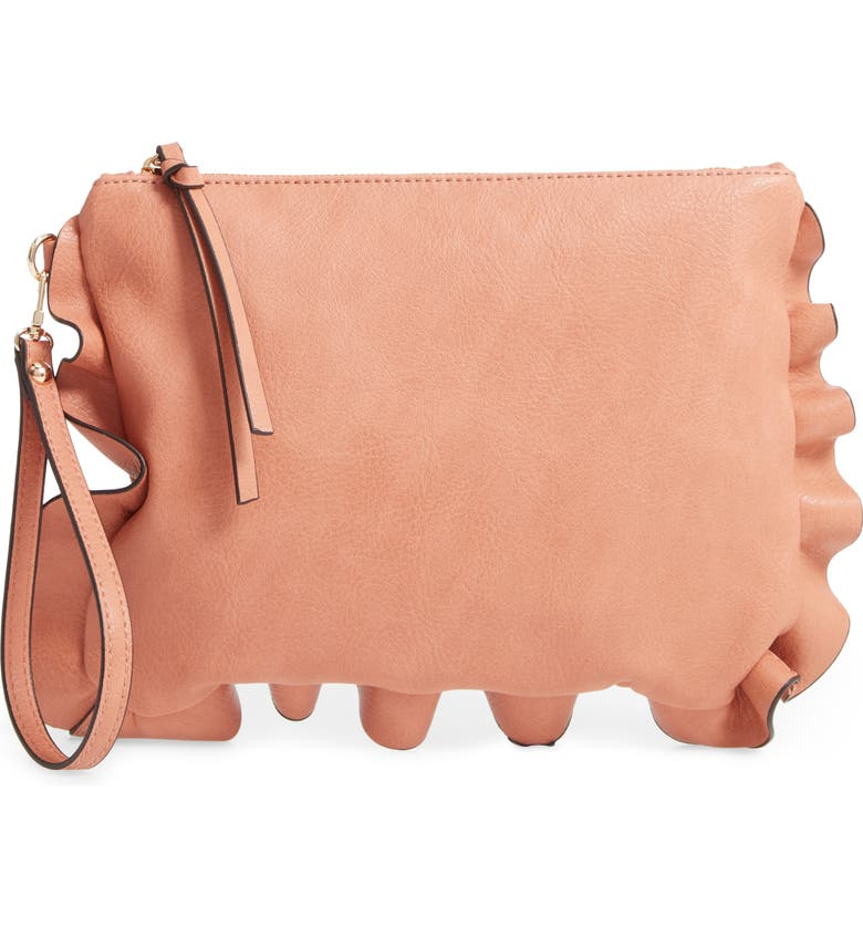 SOLE SOCIETY Adelina Faux Leather Ruffle Clutch, Main, color, 200