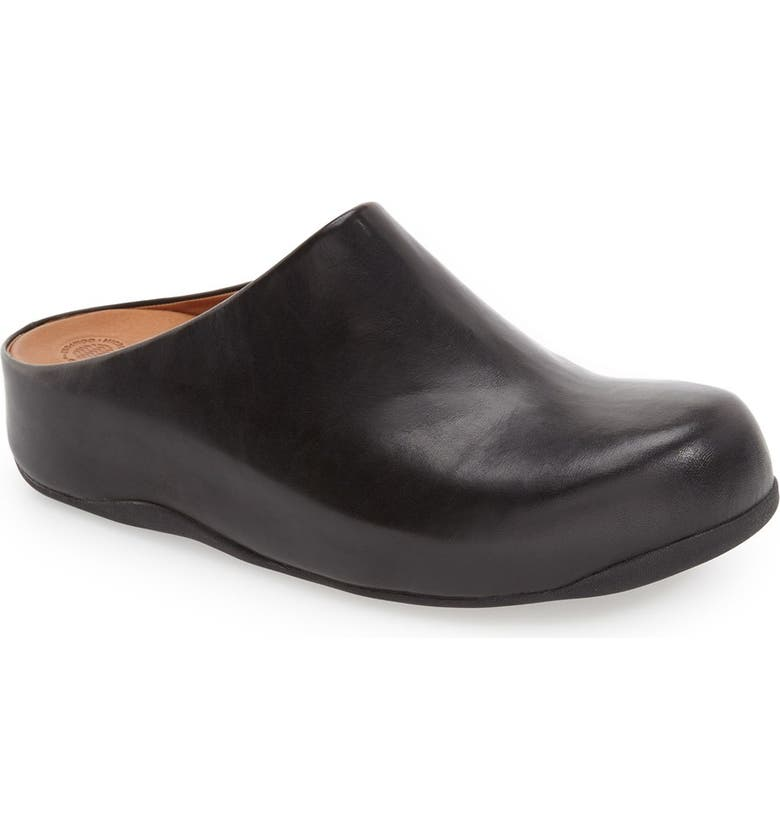 FITFLOP 'Shuv<sup>™</sup>' Leather Clog, Main, color, BLACK