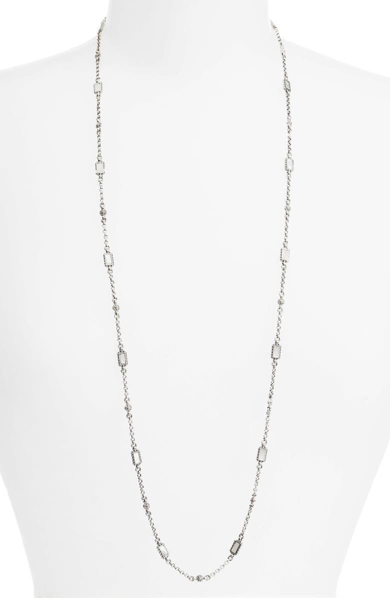 KONSTANTINO Etched Sterling Silver & Mother-of-Pearl Necklace, Main, color, SILVER/ GOLD/ WHITE