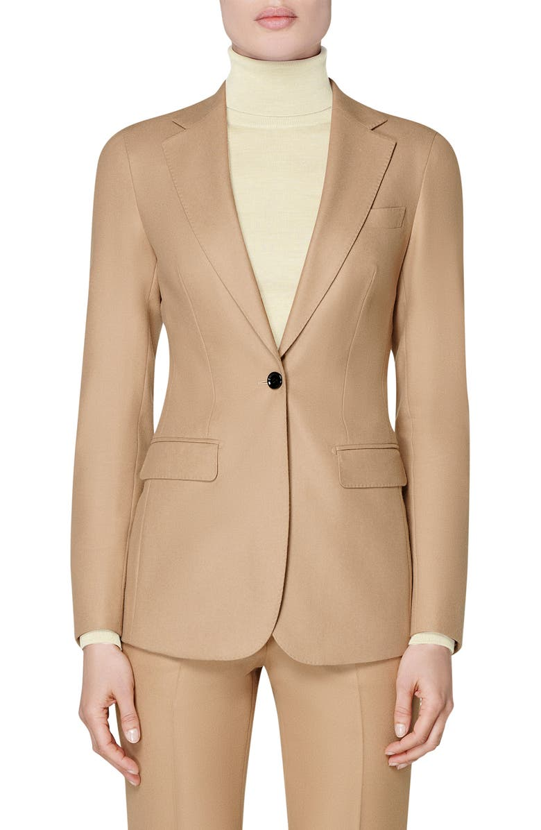 SUISTUDIO Cameron Single Breasted Wool Blazer, Main, color, CAMEL