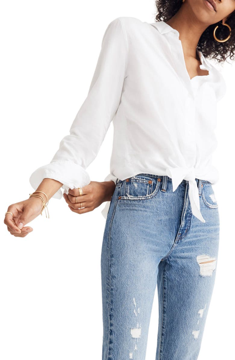MADEWELL Tie Front Shirt, Main, color, 100