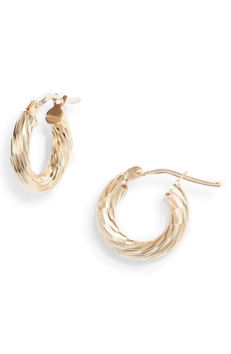 BONY LEVY 14K Gold Small Twisted Rope Hoop Earrings, Main, color, 710