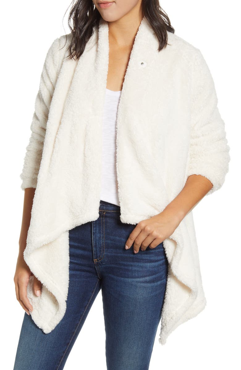 BOBEAU Drape Front Fleece Cardigan, Main, color, SUGAR