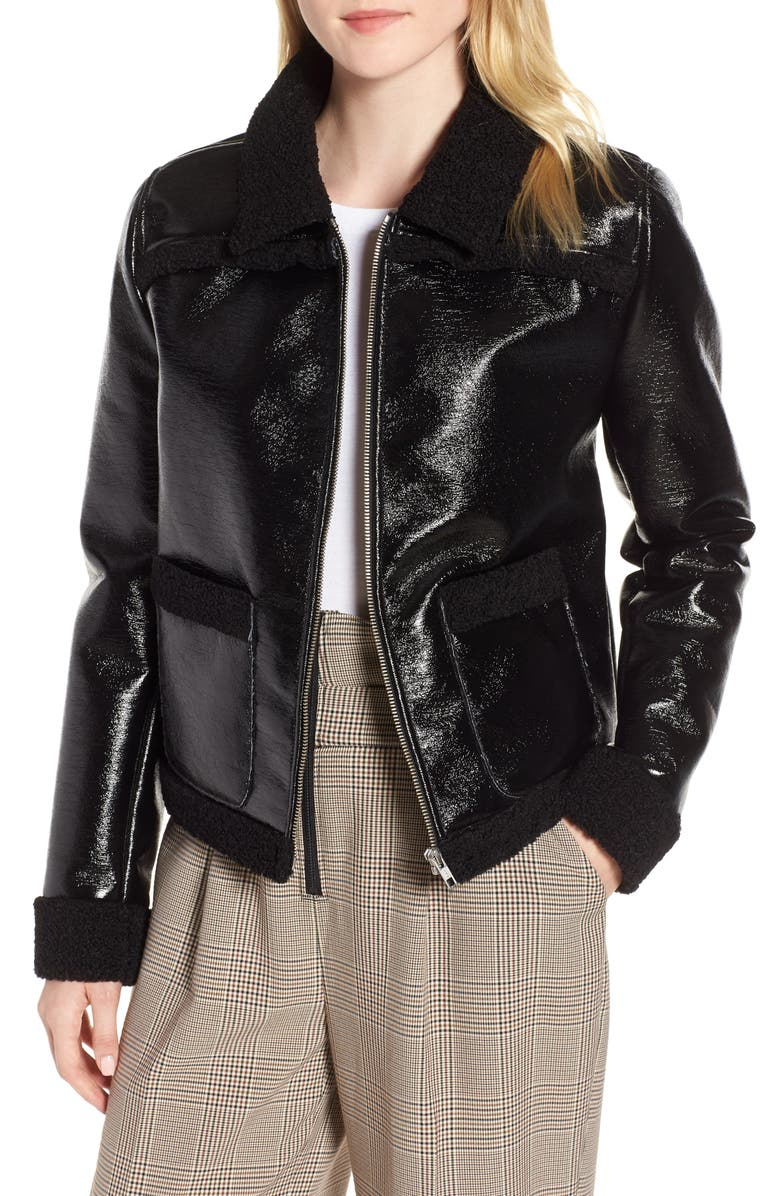 TROUVÉ Faux Patent Leather & Shearling Jacket, Main, color, 001