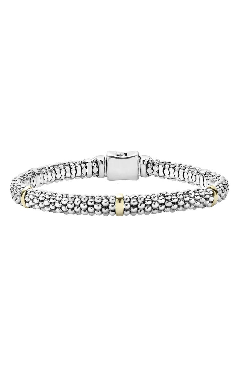 LAGOS Caviar<sup>™</sup> Rope Station Bracelet, Main, color, STERLING SILVER / GOLD