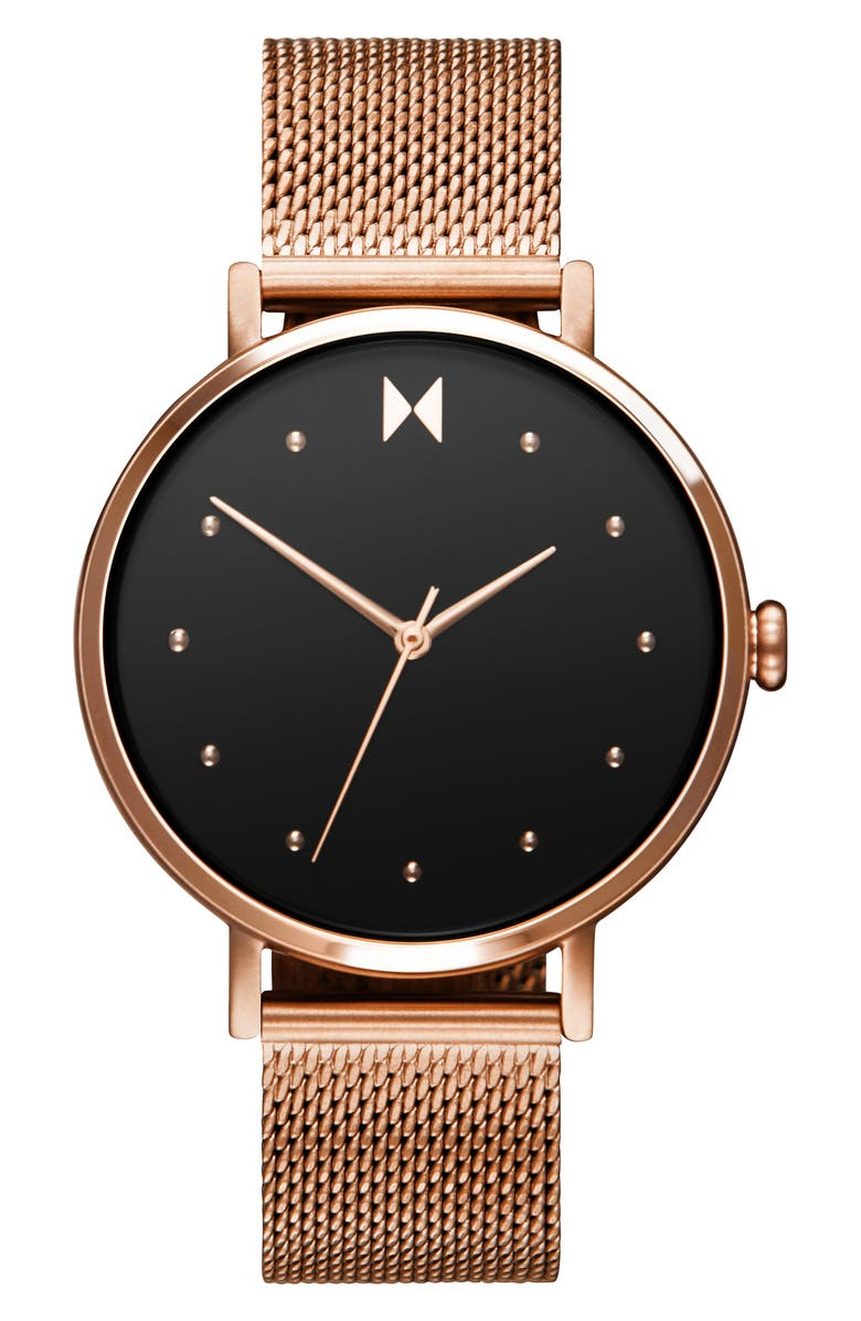 MVMT Dot Mesh Strap Watch, 36mm, Main, color, ROSE GOLD/ BLACK/ ROSE GOLD