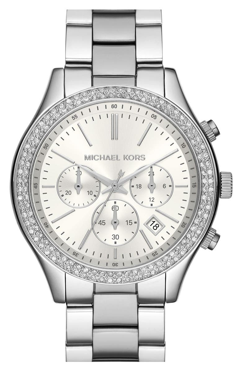 MICHAEL MICHAEL KORS Michael Kors 'Slim Runway' Crystal Bezel Chronograph Bracelet Watch, 42mm, Main, color, 040