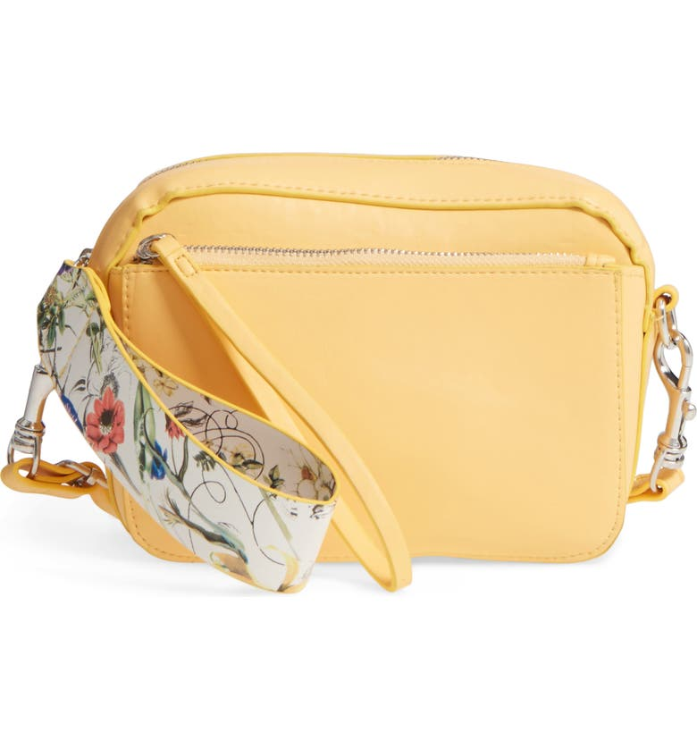 BP. Faux Leather Crossbody Wristlet, Main, color, Yellow