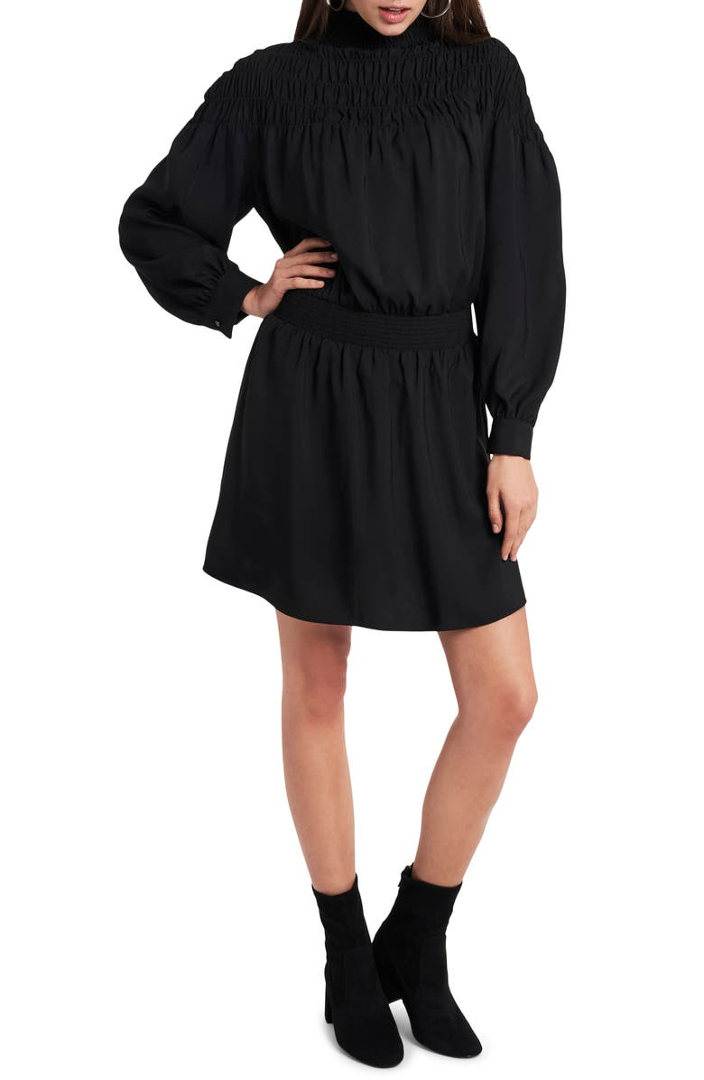 1.STATE Smocked Long Sleeve Dress, Main, color, RICH BLACK
