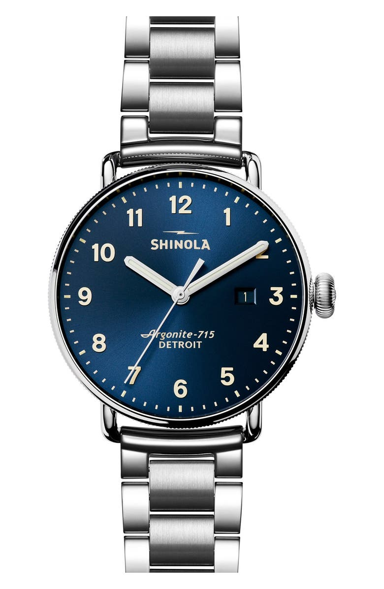 SHINOLA The Canfield Bracelet Watch, 43mm, Main, color, SILVER/ MIDNIGHT BLUE