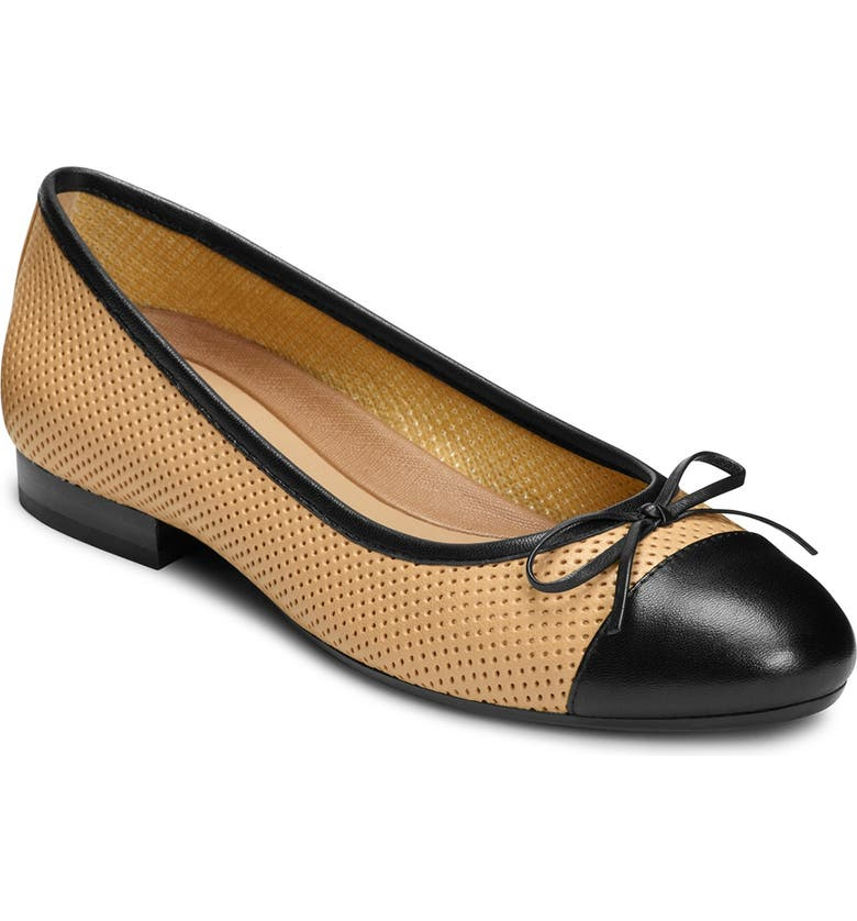 AEROSOLES Outrun Perforated Ballet Flat - Wide Width Available, Main, color, BONE COMBO