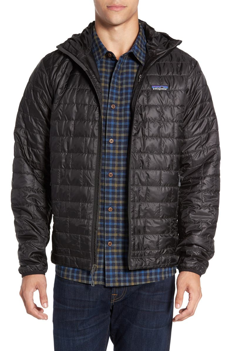 PATAGONIA Nano Puff<sup>®</sup> Hooded Jacket, Main, color, BLACK