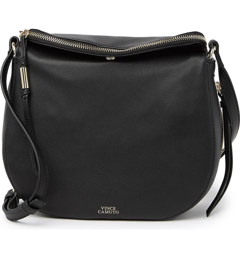 VINCE CAMUTO Kenzy Large Leather Crossbody Bag, Main, color, 001