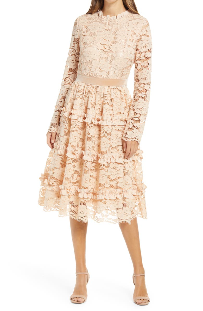 RACHEL PARCELL Ruffle Lace Long Sleeve Dress, Main, color, 260