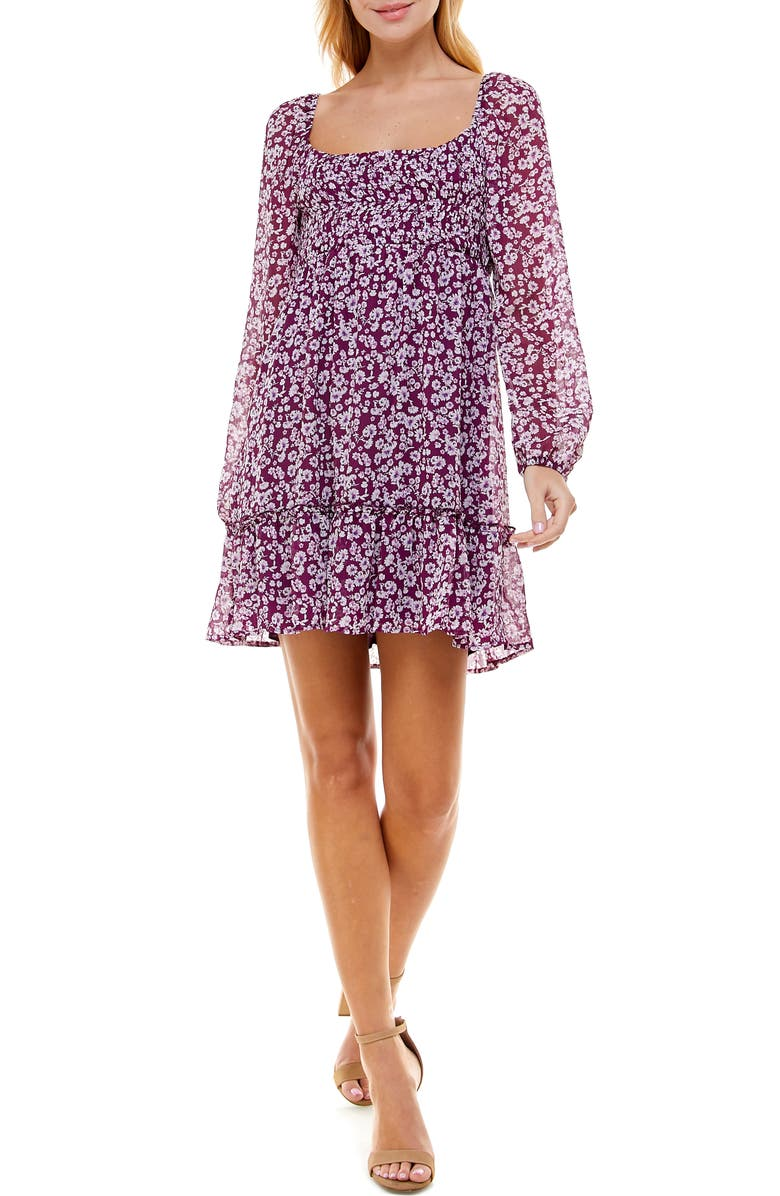 ROW A Floral Print Smocked Bodice Dress, Main, color, PURPLE