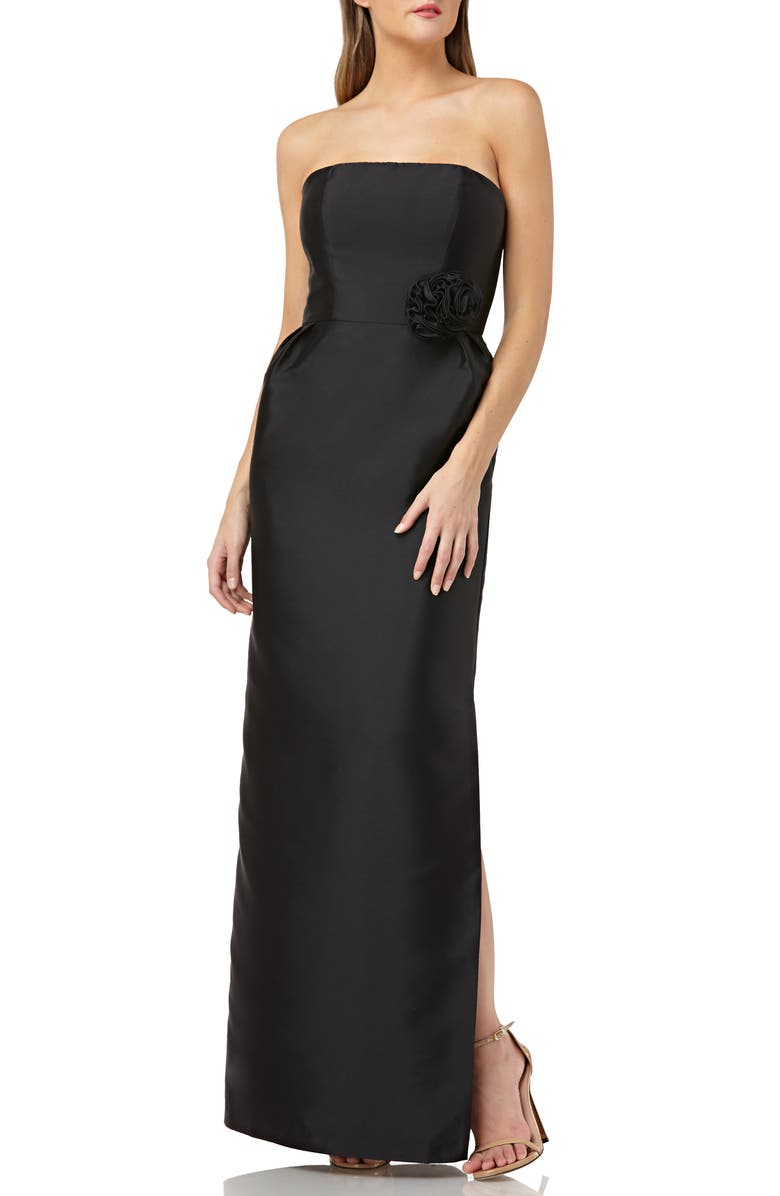 KAY UNGER Strapless Mikado Evening Dress, Main, color, 001