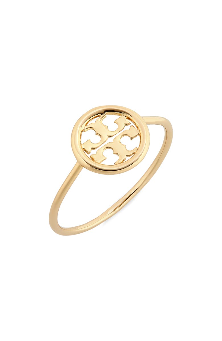TORY BURCH Miller Logo Ring, Main, color, TORY GOLD