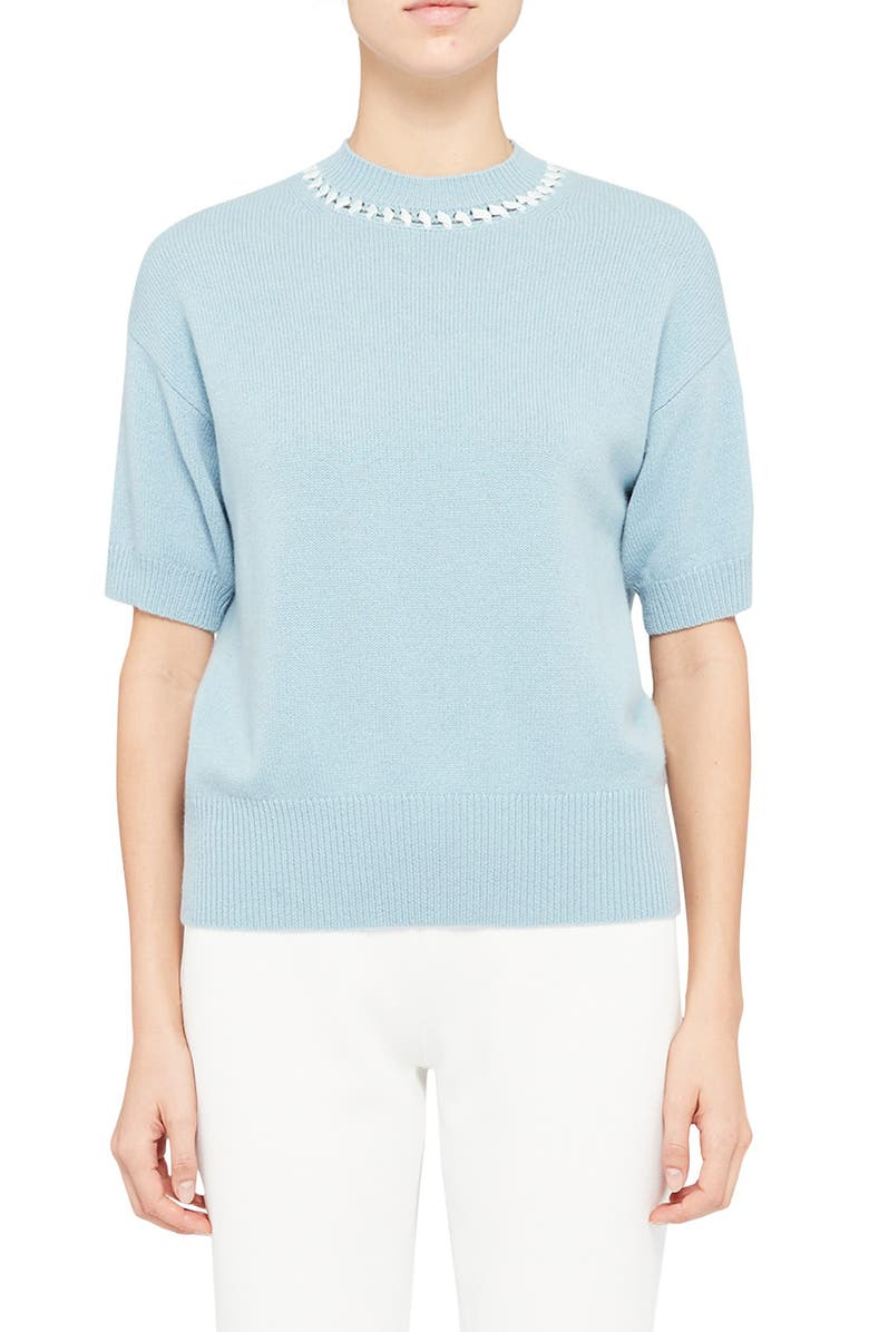 THEORY Stitch Detail Mock Neck Short Sleeve Cashmere Sweater, Main, color, EGGSHELL BLUE