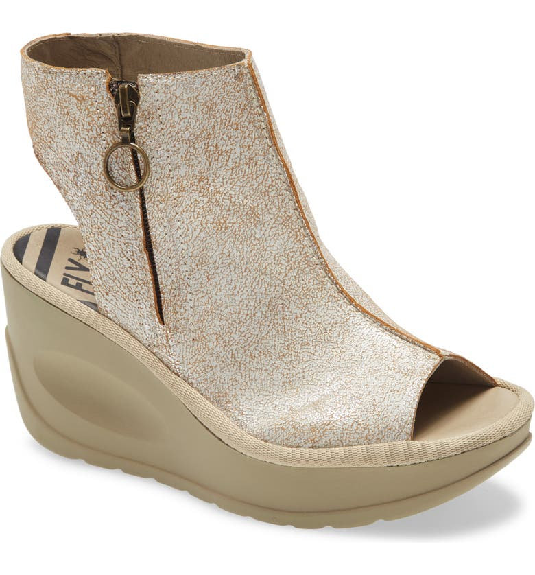 FLY LONDON Jape Wedge Sandal, Main, color, PEARL COOL LEATHER