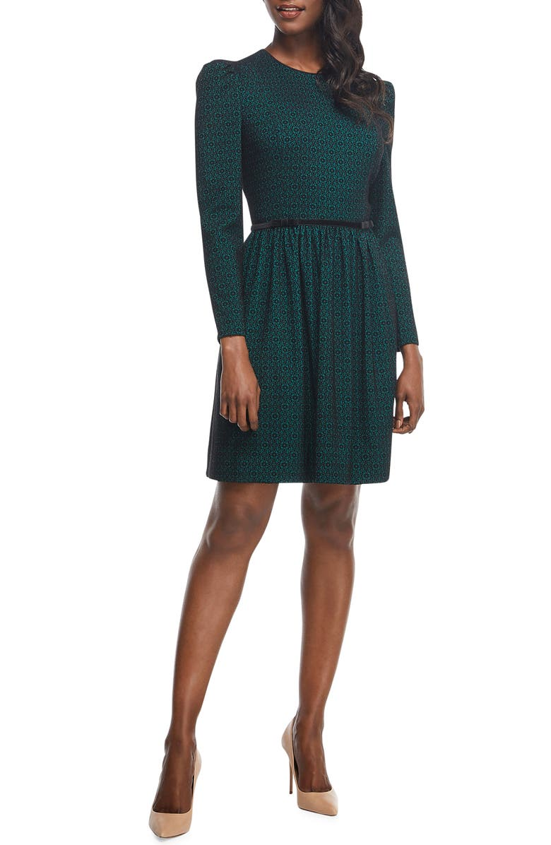 GAL MEETS GLAM COLLECTION Callie Print Long Sleeve Dress, Main, color, Green