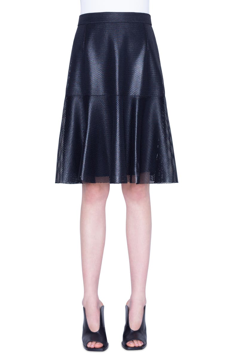 AKRIS PUNTO Lacquered Lace A-Line Skirt, Main, color, 001
