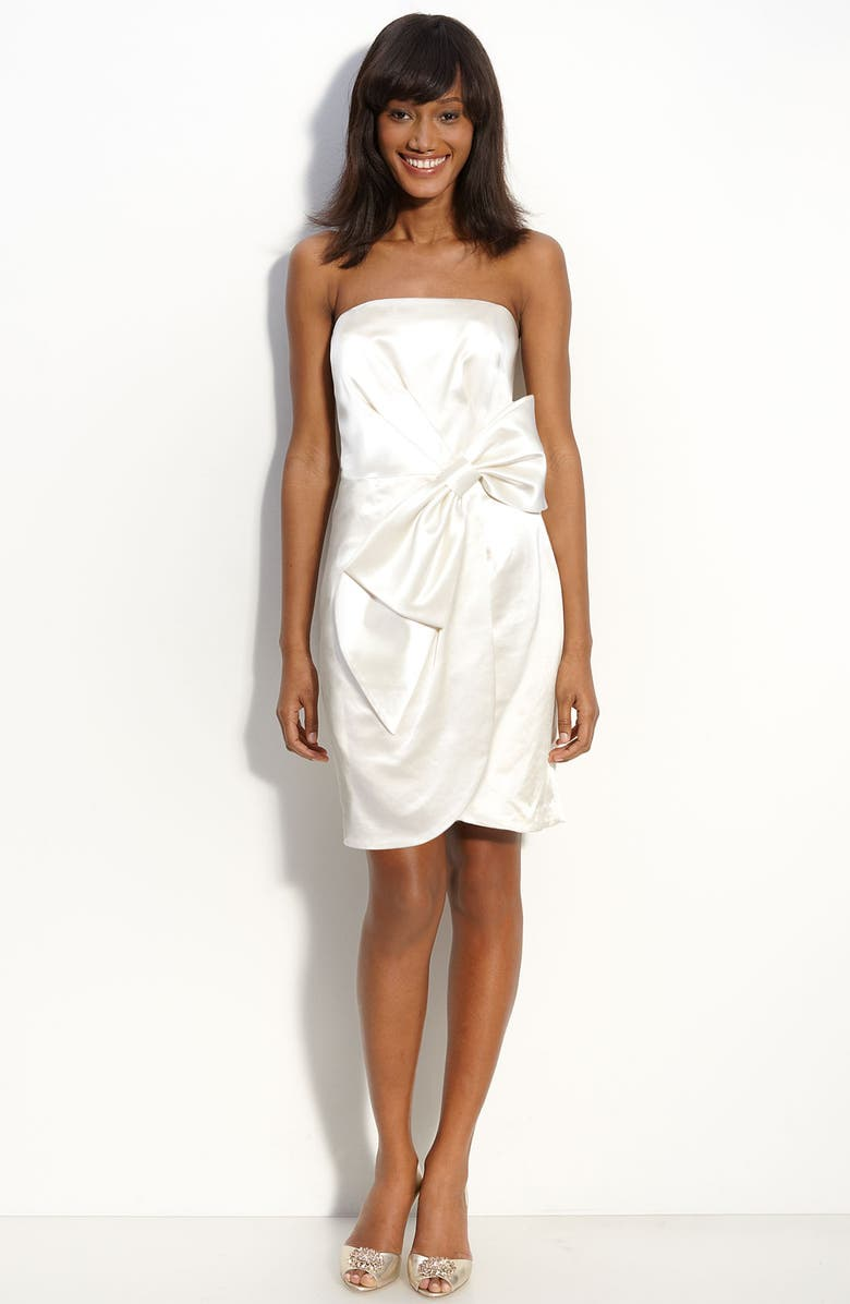 MILLY Bow Front Strapless Satin Dress, Main, color, 900