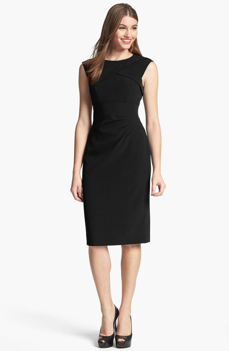 ADRIANNA PAPELL Pleated Crepe Dress, Main, color, 001