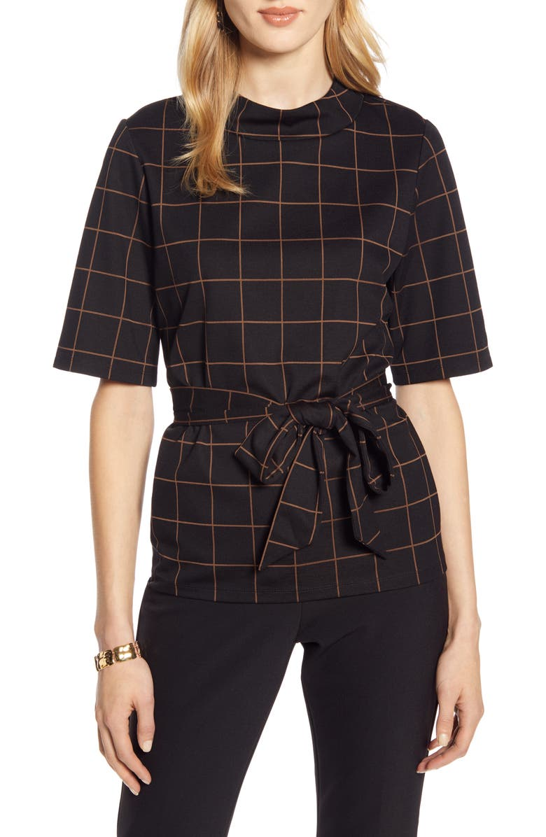 HALOGEN<SUP>®</SUP> Windowpane Pattern Tie Waist Top, Main, color, 001