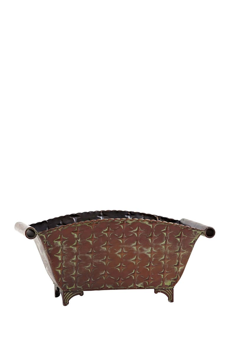 NEARLY NATURAL Regal Rectangle Planter, Main, color, BROWN