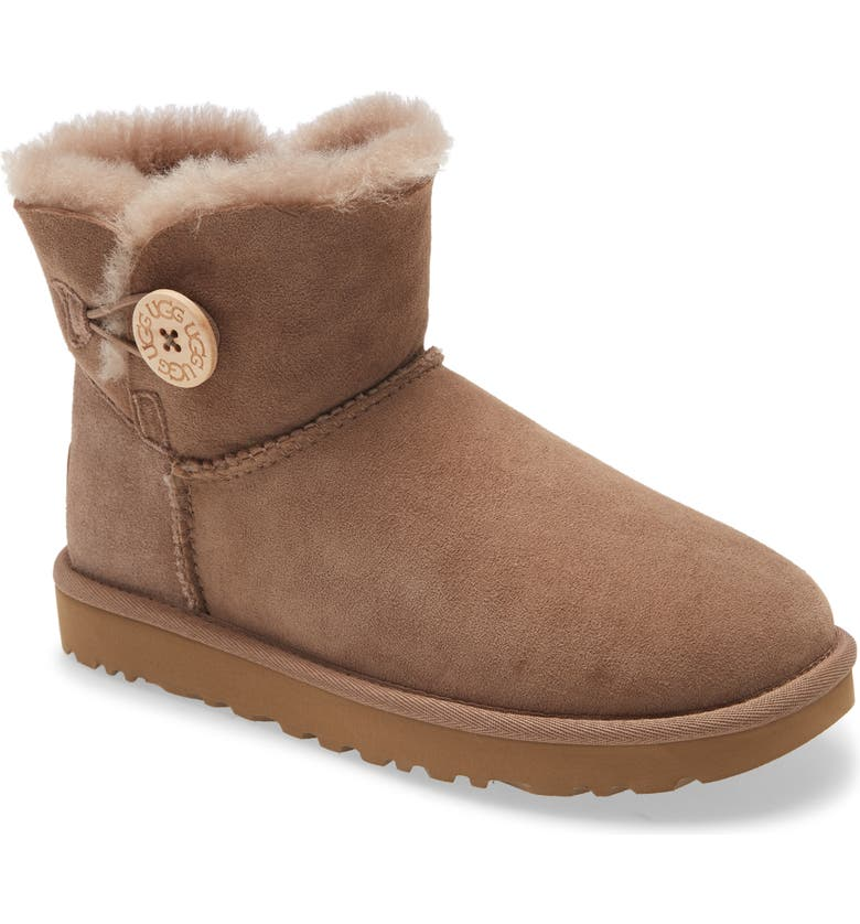 UGG<SUP>®</SUP> Mini Bailey Button II Genuine Shearling Boot, Main, color, CARIBOU SUEDE