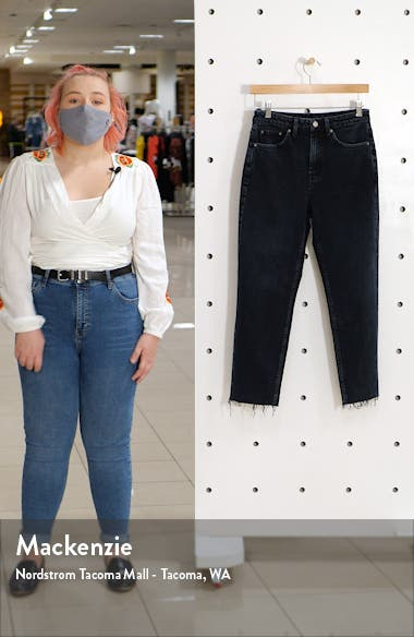 Raw Hem Crop Straight Leg Jeans, sales video thumbnail