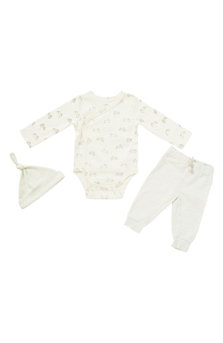 PEHR Tiny Bunny Bodysuit, Pants & Hat Set, Main, color, IVORY