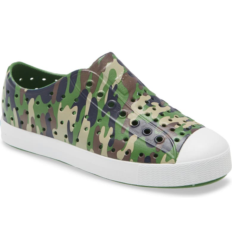 NATIVE SHOES Jefferson Water Friendly Perforated Slip-On, Main, color, RIO GREEN/SHELL WHITE/CAMO