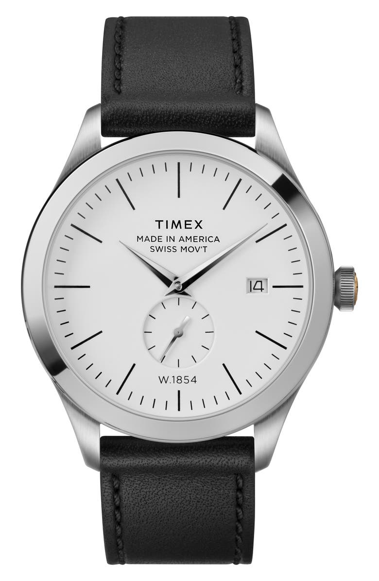 TIMEX<SUP>®</SUP> American Documentation Leather Strap Watch, 41mm, Main, color, BLACK/ WHITE/ SILVER